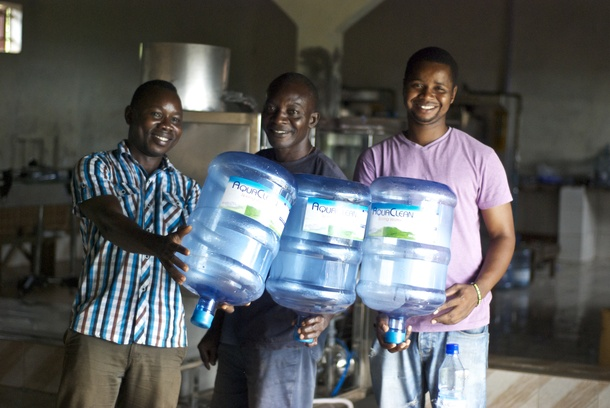 Water bottle factory in Sierra Leone